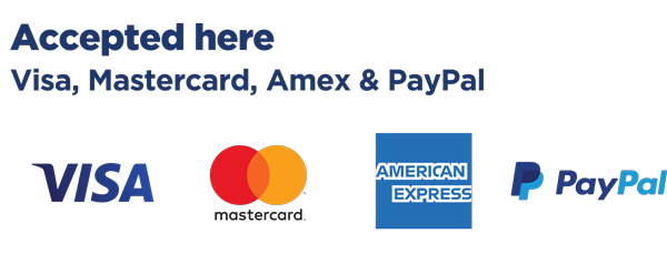 Accepted here - Visa, Mastercard, Amex and PayPal